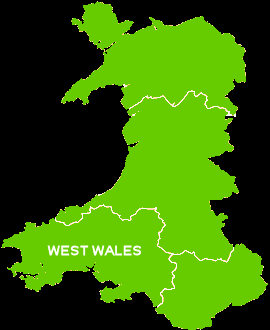 Map of West Wales. This page has all the caravan parks that are situated in this area of Wales